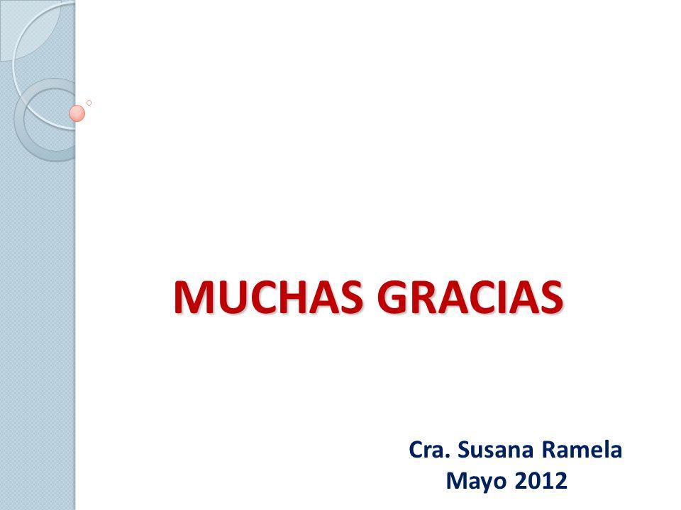 MUCHAS GRACIAS Cra. Susana Ramela Mayo 2012