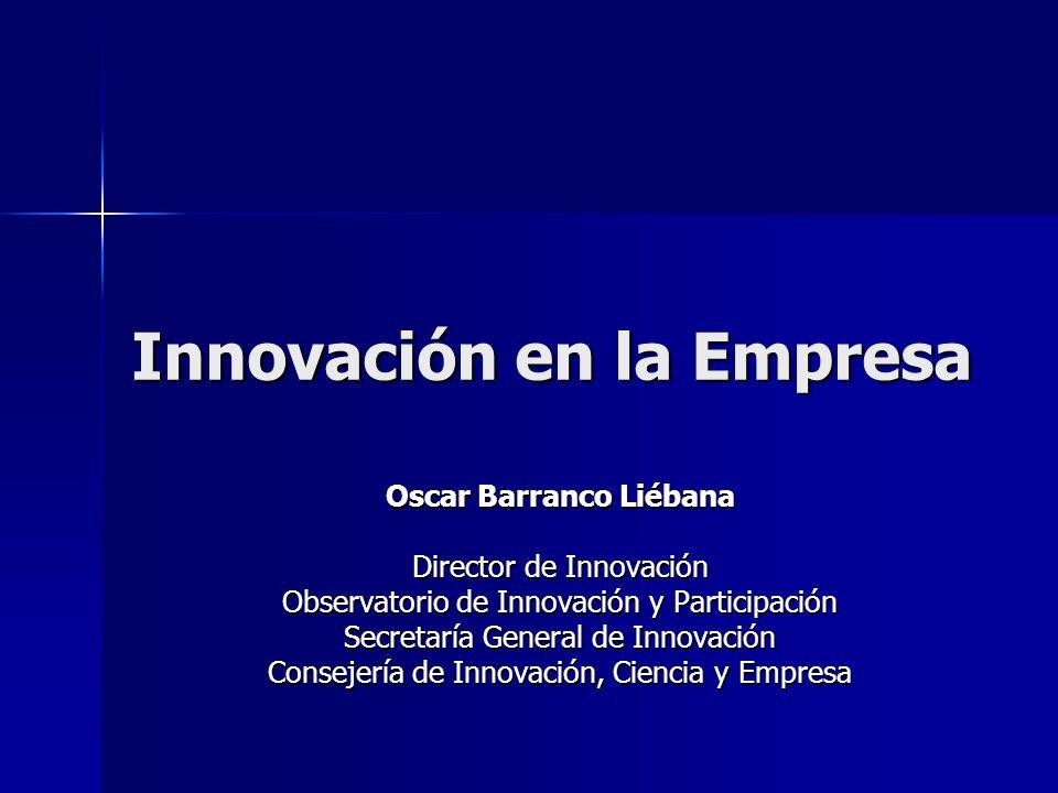 Innovación en la Empresa Oscar Barranco Liébana Director de Innovación Observatorio de Innovación y Participación Secretaría General de Innovación Con