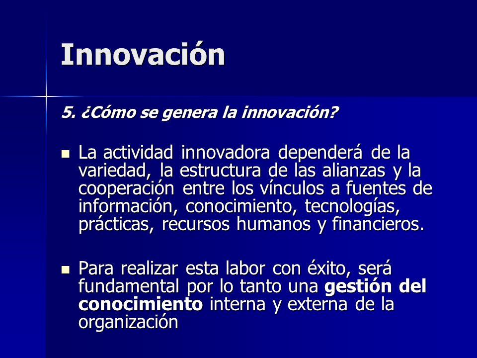 Innovación 5. ¿Cómo se genera la innovación? La actividad innovadora dependerá de la variedad, la estructura de las alianzas y la cooperación entre lo