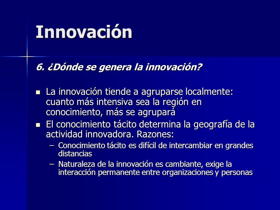 Innovación 6. ¿Dónde se genera la innovación? La innovación tiende a agruparse localmente: cuanto más intensiva sea la región en conocimiento, más se