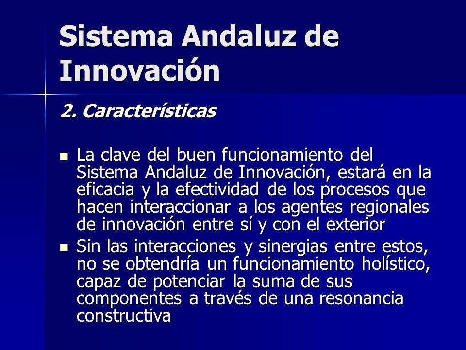 Sistema Andaluz de Innovación 2. Características La clave del buen funcionamiento del Sistema Andaluz de Innovación, estará en la eficacia y la efecti