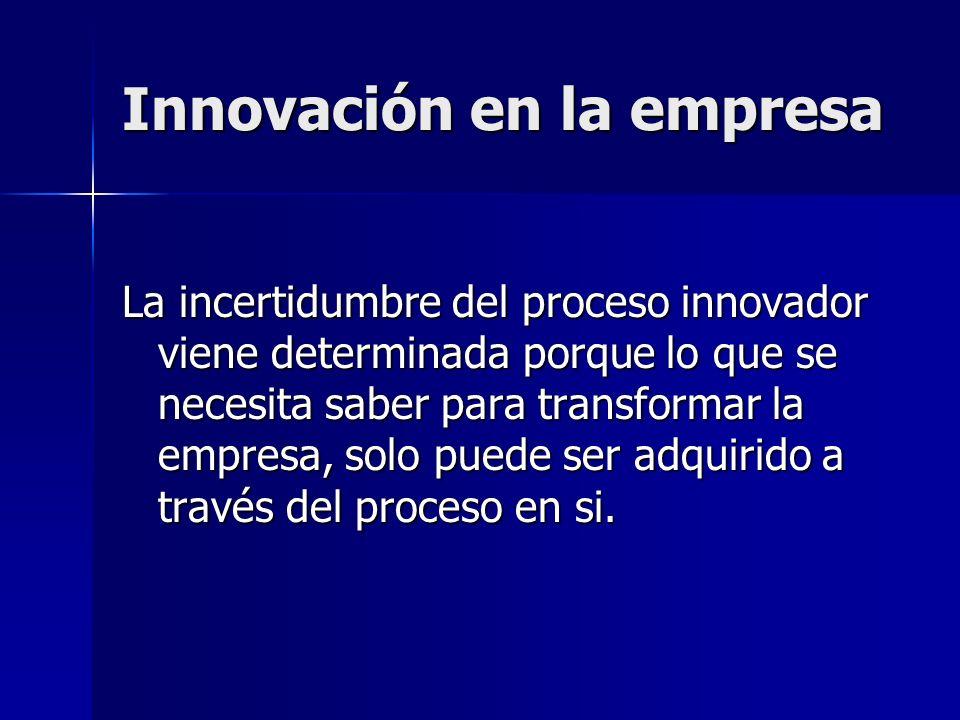 Innovación en la empresa La incertidumbre del proceso innovador viene determinada porque lo que se necesita saber para transformar la empresa, solo pu