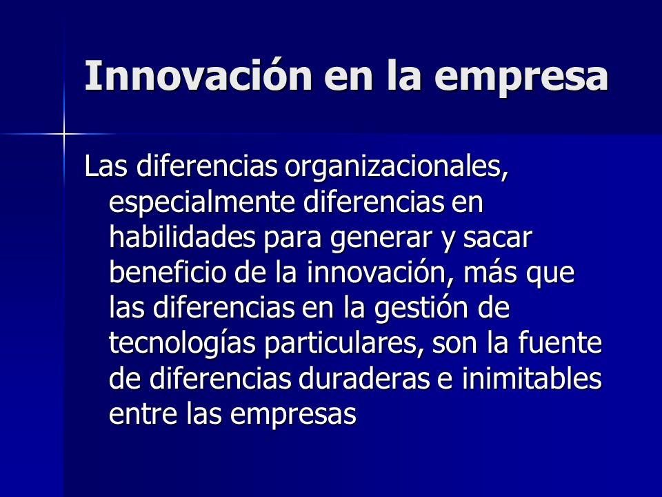 Innovación en la empresa Las diferencias organizacionales, especialmente diferencias en habilidades para generar y sacar beneficio de la innovación, m