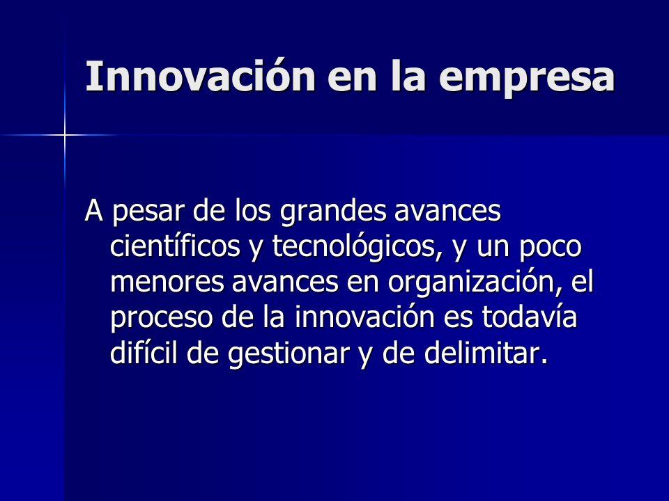 Innovación en la empresa A pesar de los grandes avances científicos y tecnológicos, y un poco menores avances en organización, el proceso de la innova
