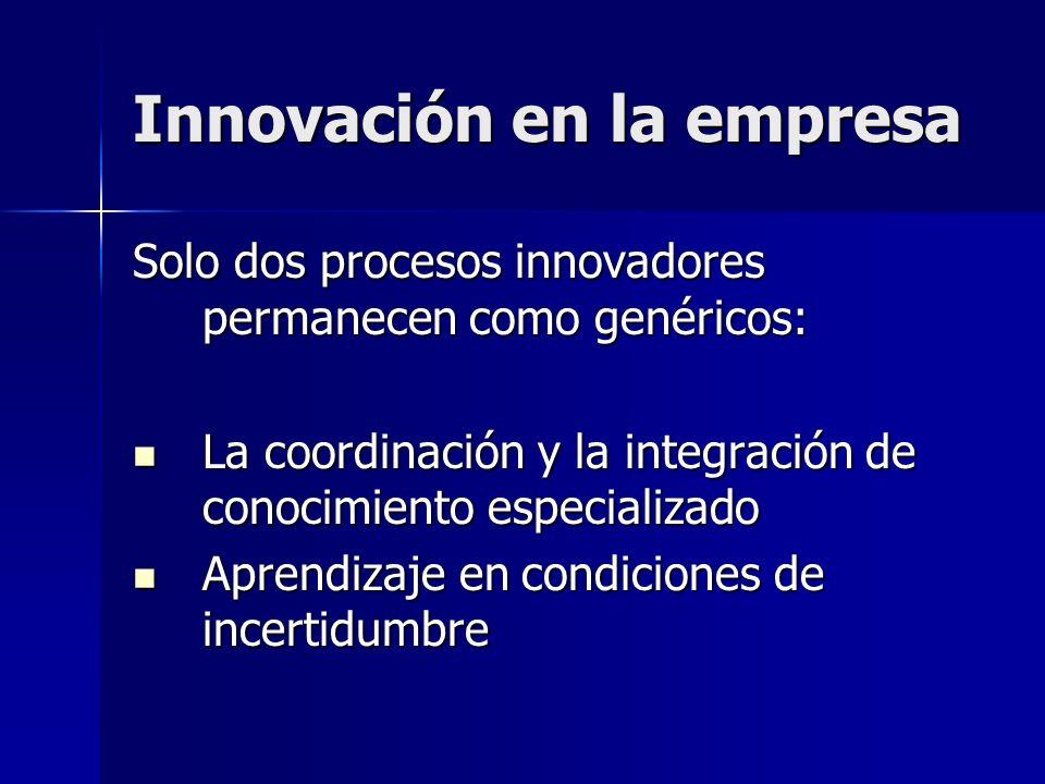 Innovación en la empresa Solo dos procesos innovadores permanecen como genéricos: La coordinación y la integración de conocimiento especializado La co