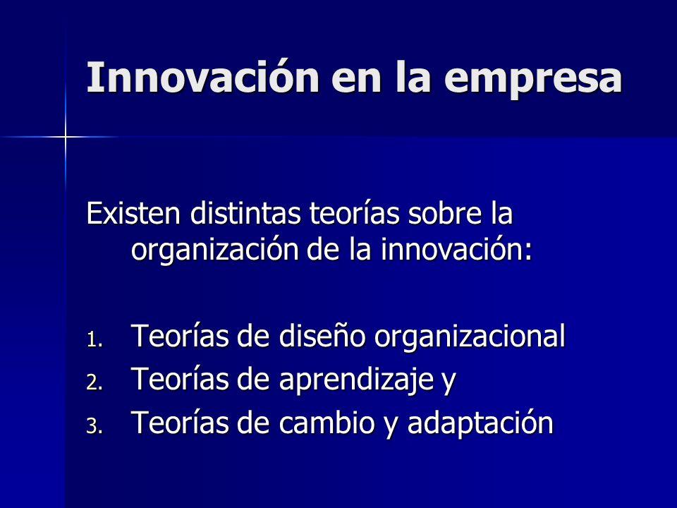 Innovación en la empresa Existen distintas teorías sobre la organización de la innovación: 1. Teorías de diseño organizacional 2. Teorías de aprendiza