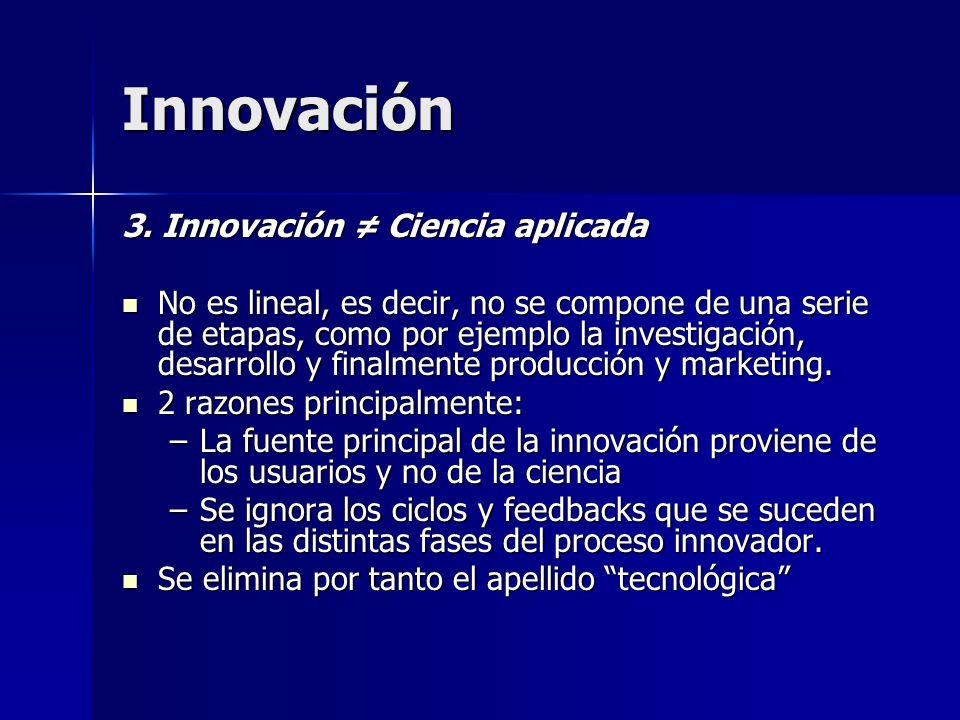 Innovación 3. Innovación Ciencia aplicada No es lineal, es decir, no se compone de una serie de etapas, como por ejemplo la investigación, desarrollo
