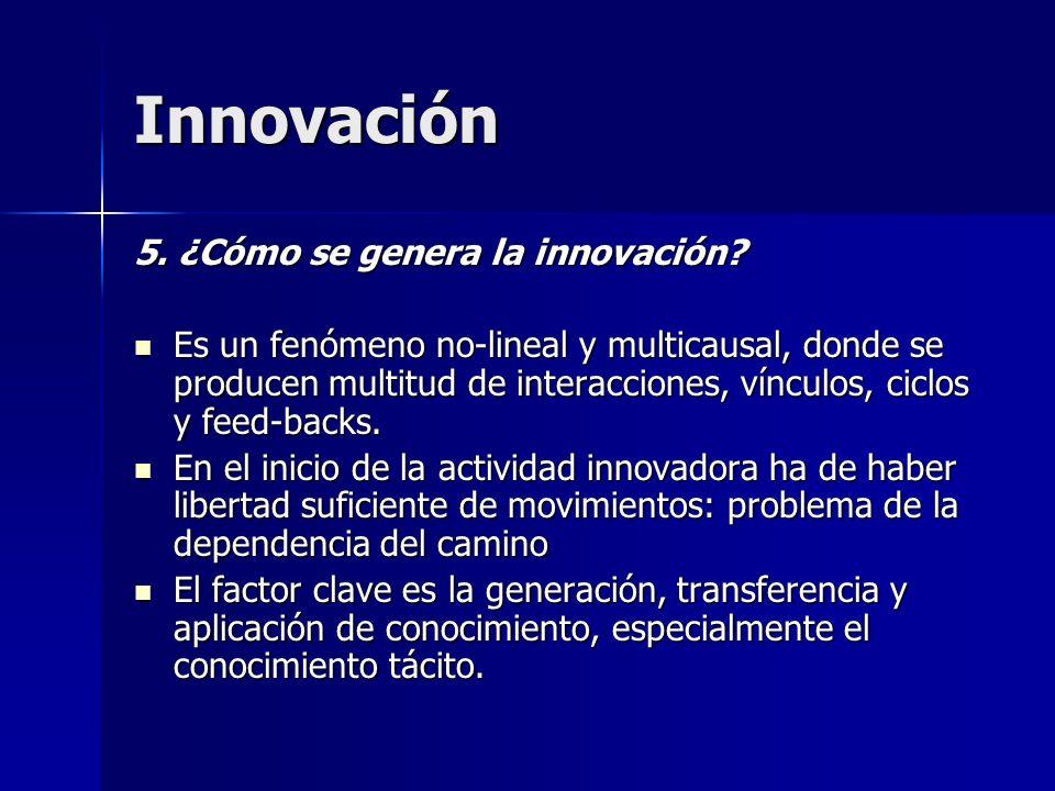 Innovación 5. ¿Cómo se genera la innovación? Es un fenómeno no-lineal y multicausal, donde se producen multitud de interacciones, vínculos, ciclos y f