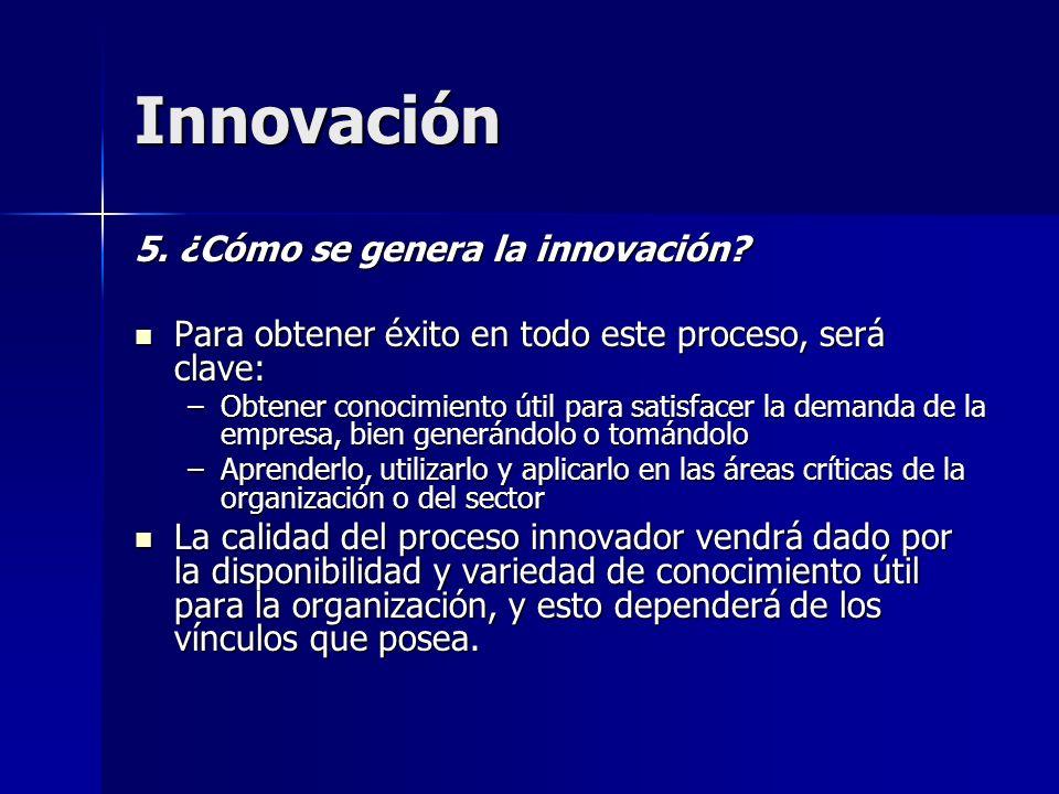 Innovación 5. ¿Cómo se genera la innovación? Para obtener éxito en todo este proceso, será clave: Para obtener éxito en todo este proceso, será clave: