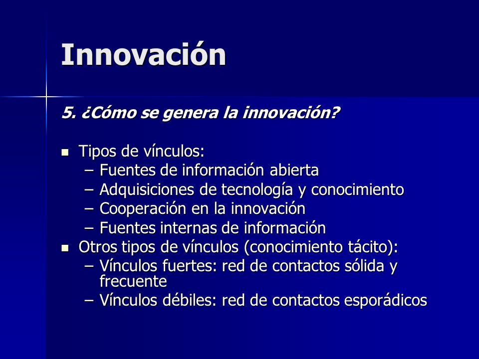 Innovación 5. ¿Cómo se genera la innovación? Tipos de vínculos: Tipos de vínculos: –Fuentes de información abierta –Adquisiciones de tecnología y cono