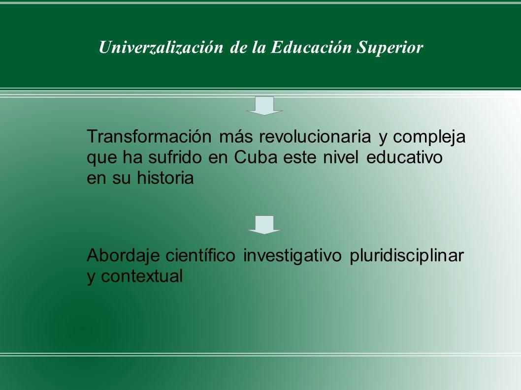 Univerzalización de la Educación Superior Transformación más revolucionaria y compleja que ha sufrido en Cuba este nivel educativo en su historia Abor