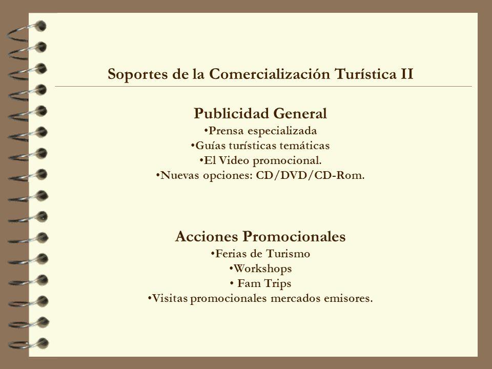 Soportes de la Comercialización Turística II Publicidad General Prensa especializada Guías turísticas temáticas El Video promocional. Nuevas opciones: