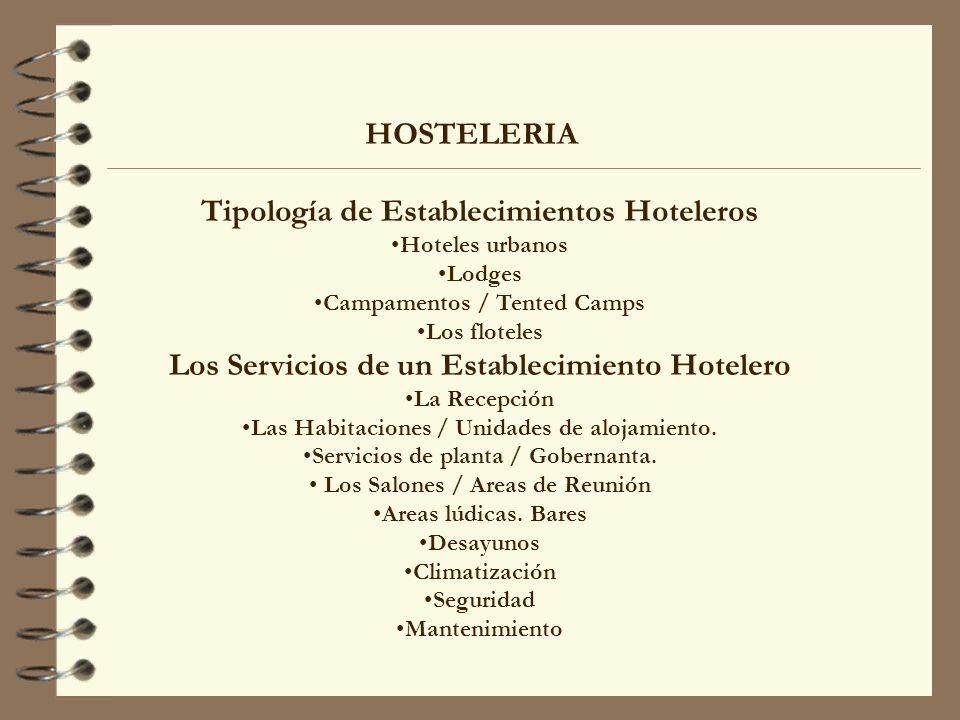 HOSTELERIA Tipología de Establecimientos Hoteleros Hoteles urbanos Lodges Campamentos / Tented Camps Los floteles Los Servicios de un Establecimiento