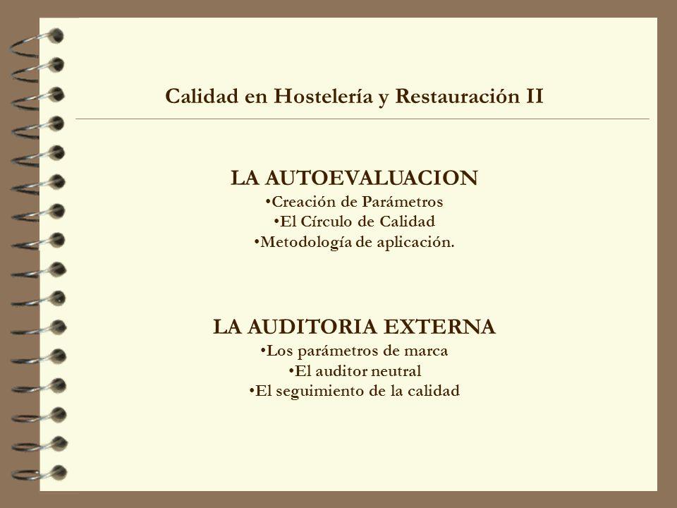 Calidad en Hostelería y Restauración II LA AUTOEVALUACION Creación de Parámetros El Círculo de Calidad Metodología de aplicación. LA AUDITORIA EXTERNA