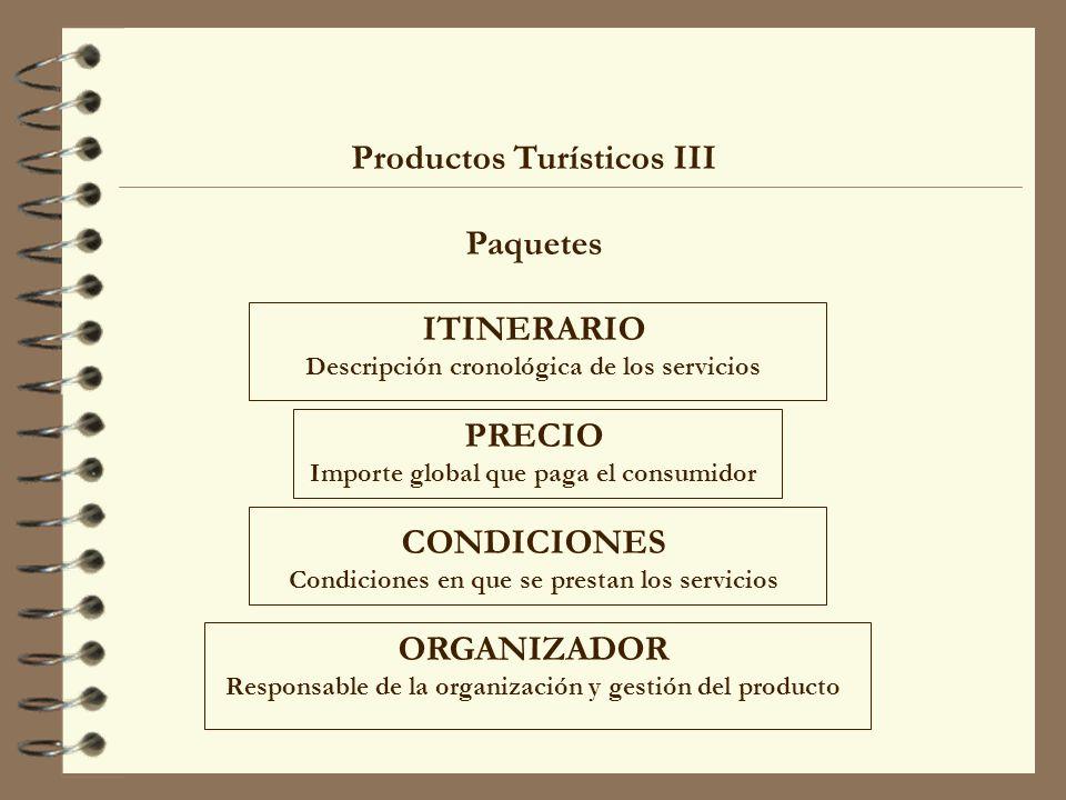 Productos Turísticos III Paquetes ITINERARIO Descripción cronológica de los servicios PRECIO Importe global que paga el consumidor CONDICIONES Condici