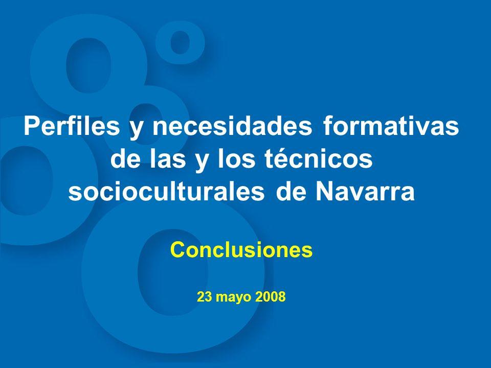Perfiles y necesidades formativas de las y los técnicos socioculturales de Navarra Conclusiones 23 mayo 2008