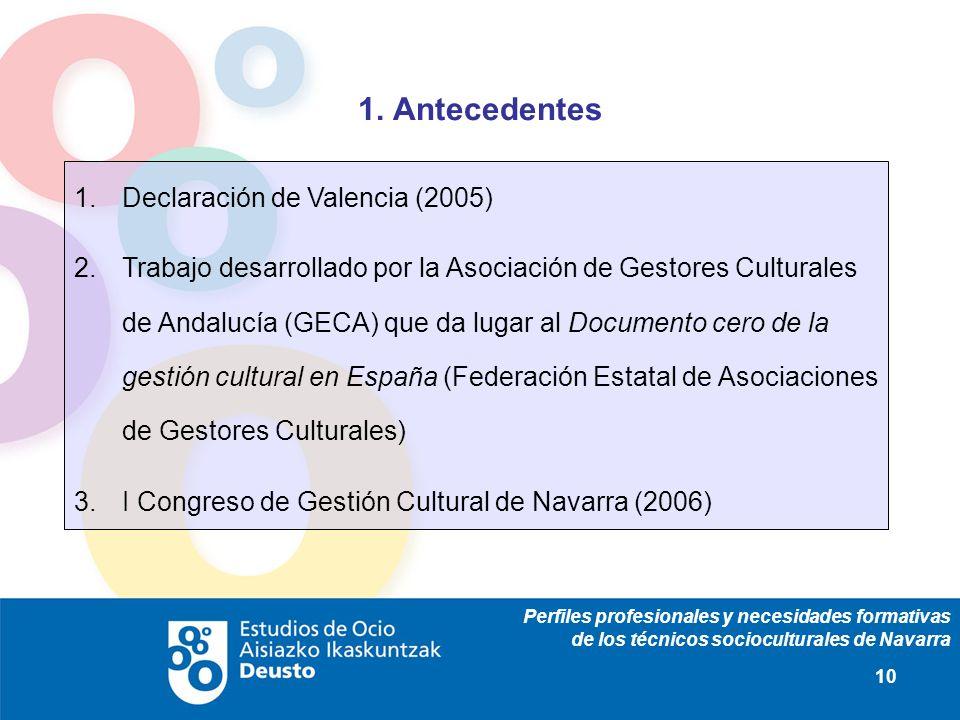 Perfiles profesionales y necesidades formativas de los técnicos socioculturales de Navarra 10 1. Antecedentes 1.Declaración de Valencia (2005) 2.Traba