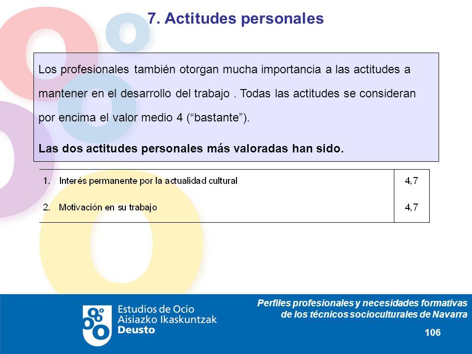 Perfiles profesionales y necesidades formativas de los técnicos socioculturales de Navarra 106 Los profesionales también otorgan mucha importancia a l