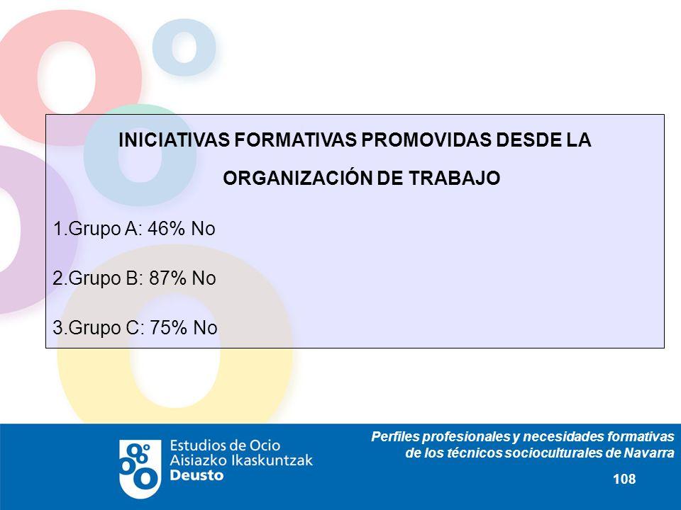 Perfiles profesionales y necesidades formativas de los técnicos socioculturales de Navarra 108 INICIATIVAS FORMATIVAS PROMOVIDAS DESDE LA ORGANIZACIÓN