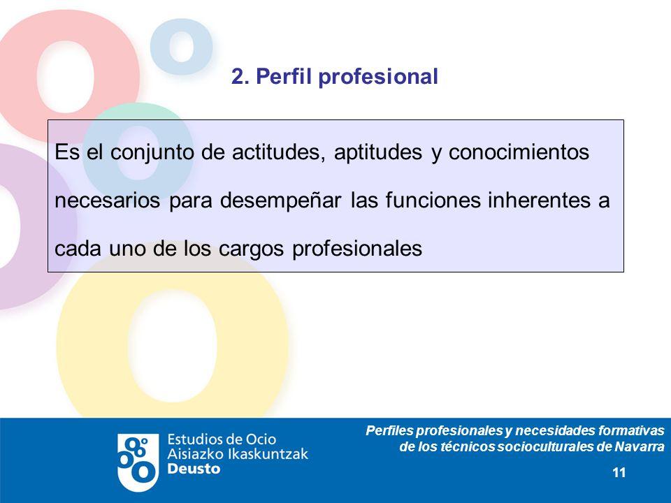 Perfiles profesionales y necesidades formativas de los técnicos socioculturales de Navarra 11 2. Perfil profesional Es el conjunto de actitudes, aptit