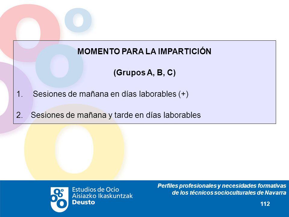 Perfiles profesionales y necesidades formativas de los técnicos socioculturales de Navarra 112 MOMENTO PARA LA IMPARTICIÓN (Grupos A, B, C) 1. Sesione