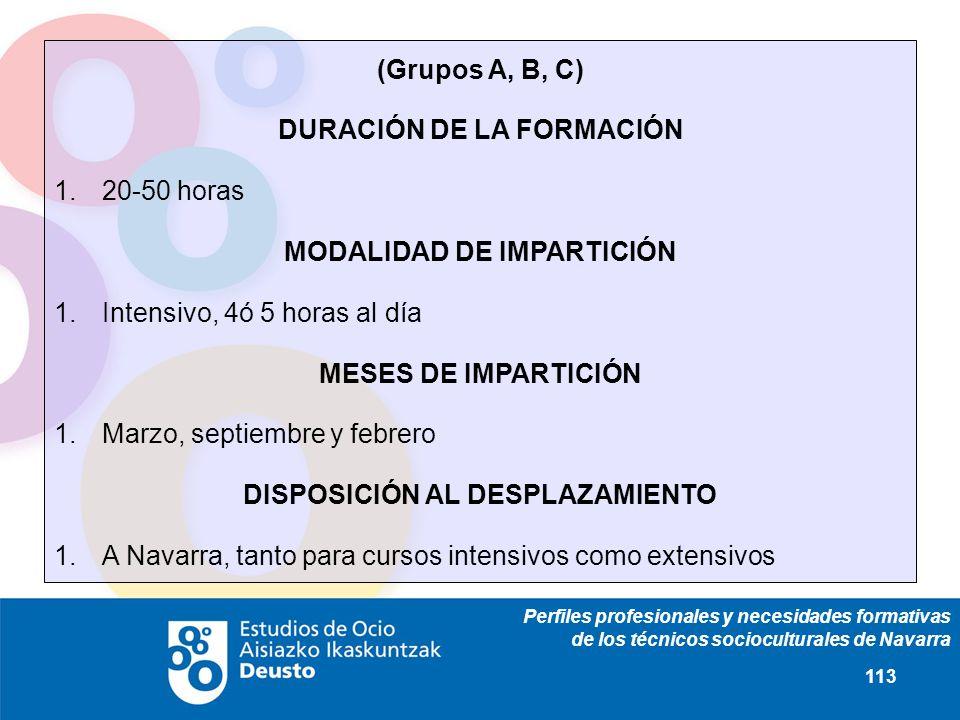 Perfiles profesionales y necesidades formativas de los técnicos socioculturales de Navarra 113 (Grupos A, B, C) DURACIÓN DE LA FORMACIÓN 1.20-50 horas MODALIDAD DE IMPARTICIÓN 1.Intensivo, 4ó 5 horas al día MESES DE IMPARTICIÓN 1.Marzo, septiembre y febrero DISPOSICIÓN AL DESPLAZAMIENTO 1.A Navarra, tanto para cursos intensivos como extensivos