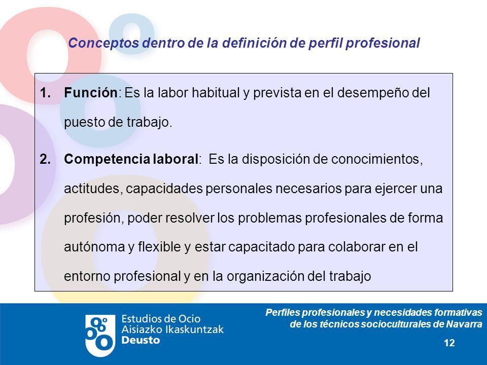 Perfiles profesionales y necesidades formativas de los técnicos socioculturales de Navarra 12 Conceptos dentro de la definición de perfil profesional 1.Función: Es la labor habitual y prevista en el desempeño del puesto de trabajo.