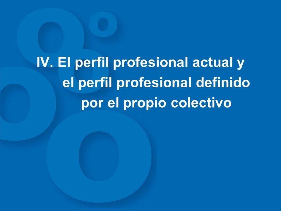 IV. El perfil profesional actual y el perfil profesional definido por el propio colectivo