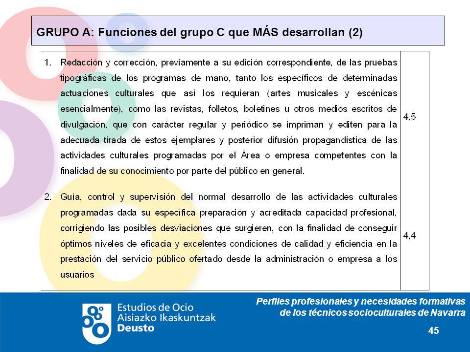 Perfiles profesionales y necesidades formativas de los técnicos socioculturales de Navarra 45 GRUPO A: Funciones del grupo C que MÁS desarrollan (2)