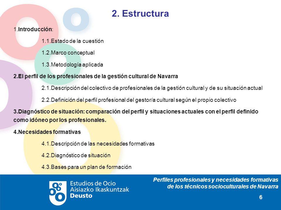 Perfiles profesionales y necesidades formativas de los técnicos socioculturales de Navarra 17 Características generales Identificación profesional Datos de la organización en la que trabajan Satisfacción con la organización de trabajo