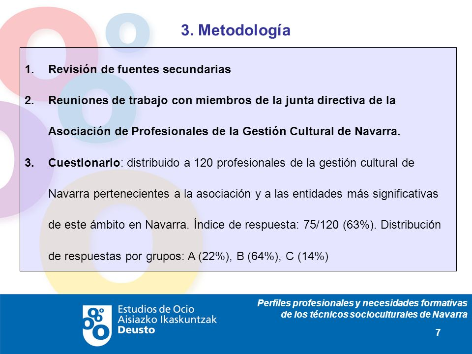 Perfiles profesionales y necesidades formativas de los técnicos socioculturales de Navarra 7 3. Metodología Revisión de fuentes secundarias Reuniones