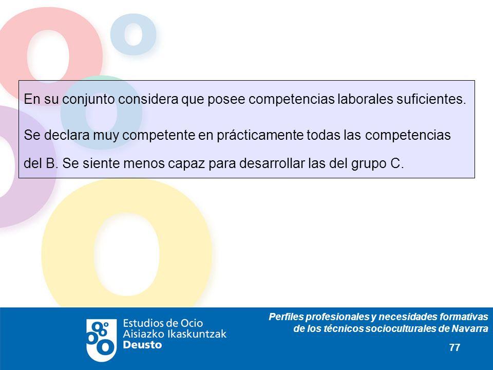 Perfiles profesionales y necesidades formativas de los técnicos socioculturales de Navarra 77 En su conjunto considera que posee competencias laborales suficientes.