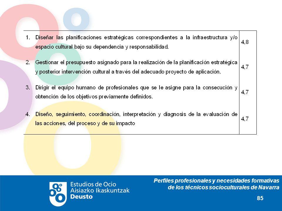 Perfiles profesionales y necesidades formativas de los técnicos socioculturales de Navarra 85