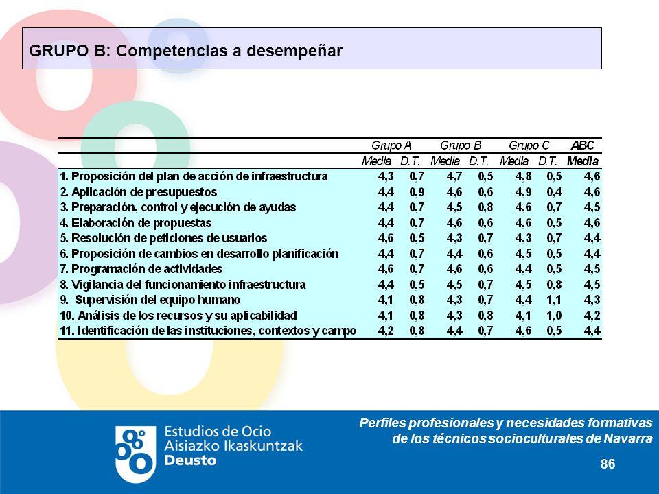 Perfiles profesionales y necesidades formativas de los técnicos socioculturales de Navarra 86 GRUPO B: Competencias a desempeñar