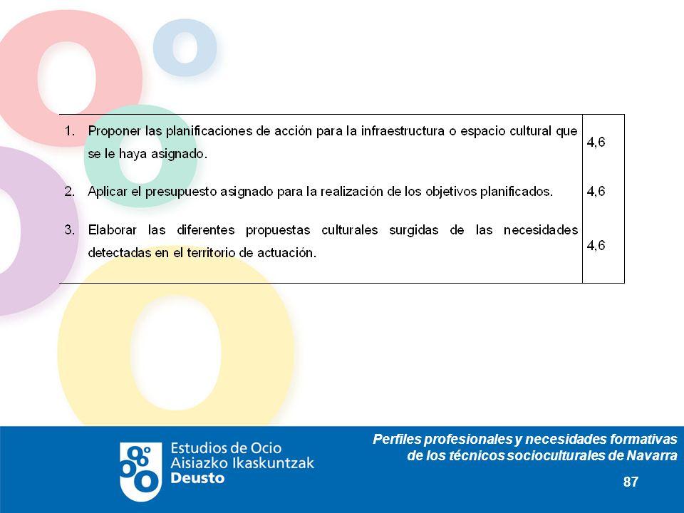 Perfiles profesionales y necesidades formativas de los técnicos socioculturales de Navarra 87
