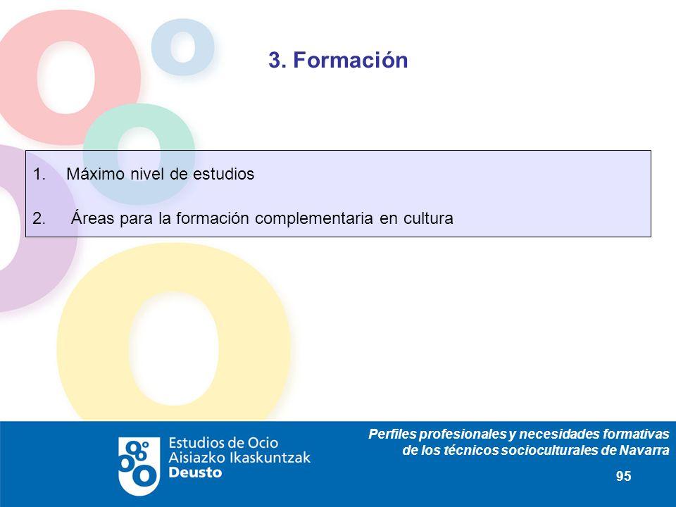 Perfiles profesionales y necesidades formativas de los técnicos socioculturales de Navarra 95 3. Formación 1.Máximo nivel de estudios 2. Áreas para la