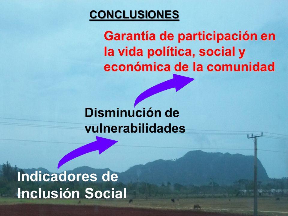 CONCLUSIONES Garantía de participación en la vida política, social y económica de la comunidad I ndicadores de Inclusión Social Disminución de vulnerabilidades