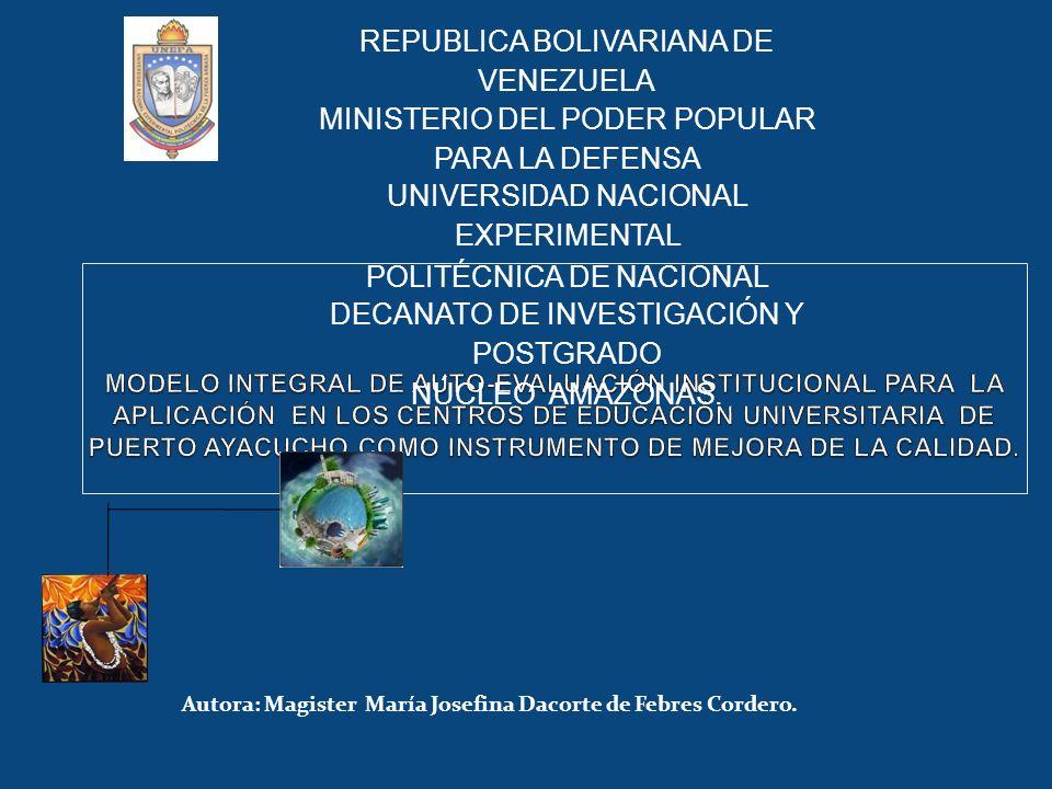 Autora: Magister María Josefina Dacorte de Febres Cordero. REPUBLICA BOLIVARIANA DE VENEZUELA MINISTERIO DEL PODER POPULAR PARA LA DEFENSA UNIVERSIDAD