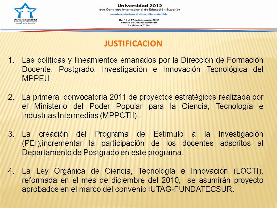 1.Propiciar la participación y vinculación de los programas de formación avanzada (postgrado) del IUTAG en las convocatorias de financiamiento realizada por el MPPCTII, a través del Observatorio Nacional de Ciencia y Tecnología, ONCTI, a saber: (a) Programa de Estímulo al Investigador (PEI), y (b) Proyectos en Áreas Estratégicas (PAE), así como ante otras instancias nacionales e internacionales, como un mecanismo de fortalecimiento y posicionamiento institucional con miras a la transformación en Universidad Politécnica Territorial 2.Fomentar la triangulación Programas de Postgrado- Líneas de Creación Intelectual y Proyectos, entendida a través de la formulación de proyectos en las áreas estratégicas definidas en la Plan Bolívar 2007-2013 y las necesidades de investigación del MPPCTII, tomando en consideración el alcance de los diferentes trayectos de los PNFs, según el alcance del eje proyecto comprendido dentro de su estructura curricular.