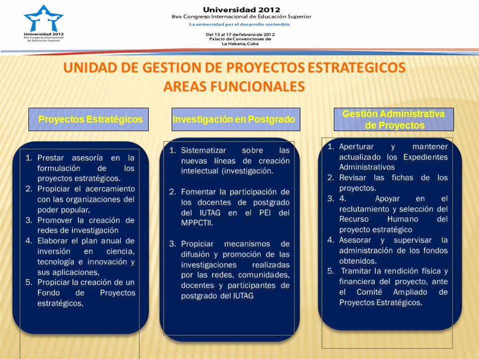 UNIDAD DE GESTION DE PROYECTOS ESTRATEGICOS AREAS FUNCIONALES Proyectos EstratégicosInvestigación en Postgrado Gestión Administrativa de Proyectos