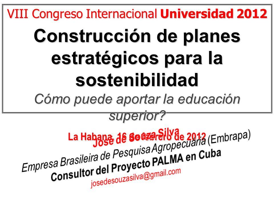 VIII Congreso Internacional Universidad 2012 Construcción de planes estratégicos para la sostenibilidad Cómo puede aportar la educación superior? La H
