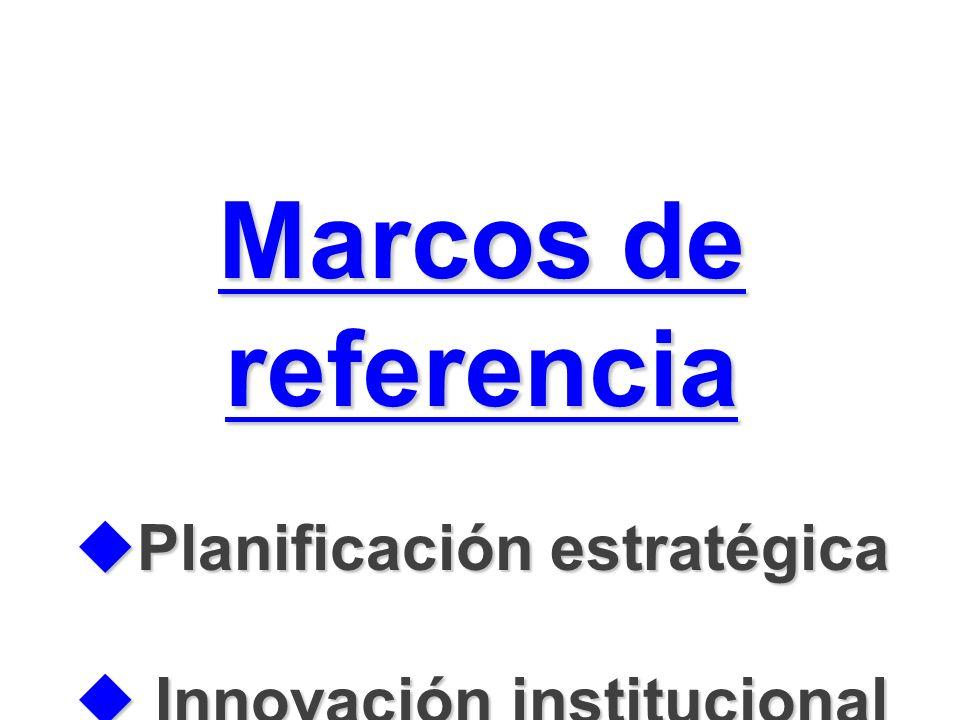 Marcos de referencia Planificación estratégica Planificación estratégica Innovación institucional Innovación institucional