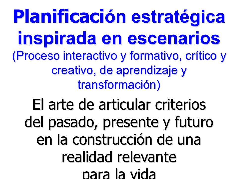 Planificaci ón estratégica inspirada en escenarios (Proceso interactivo y formativo, crítico y creativo, de aprendizaje y transformación) El arte de articular criterios del pasado, presente y futuro en la construcción de una realidad relevante para la vida