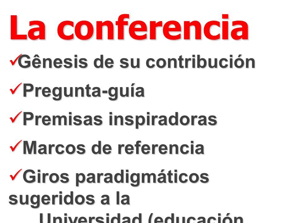 La conferencia Gênesis de su contribución Gênesis de su contribución Pregunta-guía Pregunta-guía Premisas inspiradoras Premisas inspiradoras Marcos de