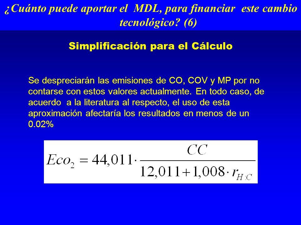 Simplificación para el Cálculo Se despreciarán las emisiones de CO, COV y MP por no contarse con estos valores actualmente.