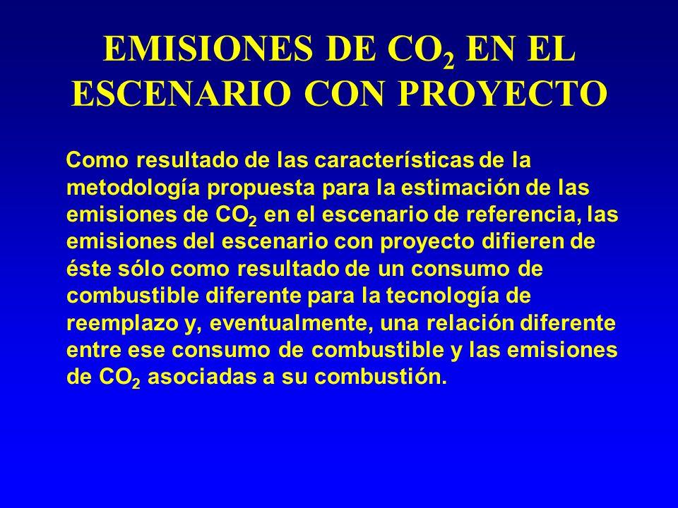 EMISIONES DE CO 2 EN EL ESCENARIO CON PROYECTO Como resultado de las características de la metodología propuesta para la estimación de las emisiones de CO 2 en el escenario de referencia, las emisiones del escenario con proyecto difieren de éste sólo como resultado de un consumo de combustible diferente para la tecnología de reemplazo y, eventualmente, una relación diferente entre ese consumo de combustible y las emisiones de CO 2 asociadas a su combustión.