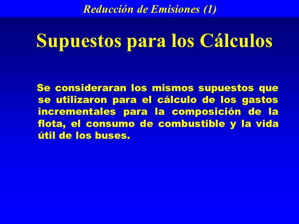 Reducción de Emisiones (1) Se consideraran los mismos supuestos que se utilizaron para el cálculo de los gastos incrementales para la composición de la flota, el consumo de combustible y la vida útil de los buses.