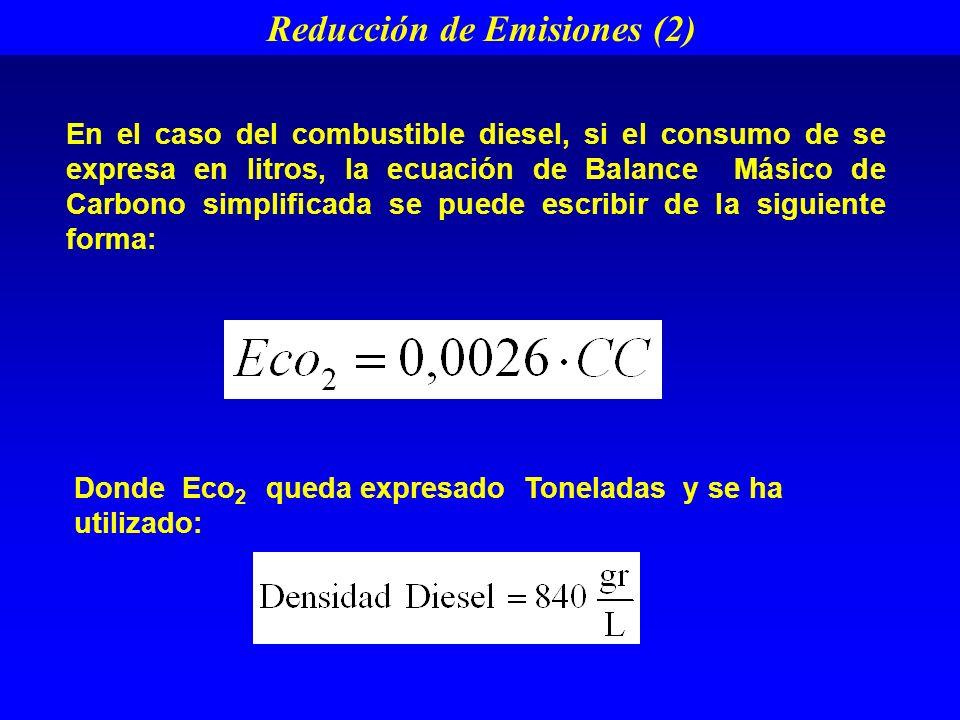 En el caso del combustible diesel, si el consumo de se expresa en litros, la ecuación de Balance Másico de Carbono simplificada se puede escribir de la siguiente forma: Donde Eco 2 queda expresado Toneladas y se ha utilizado: Reducción de Emisiones (2)