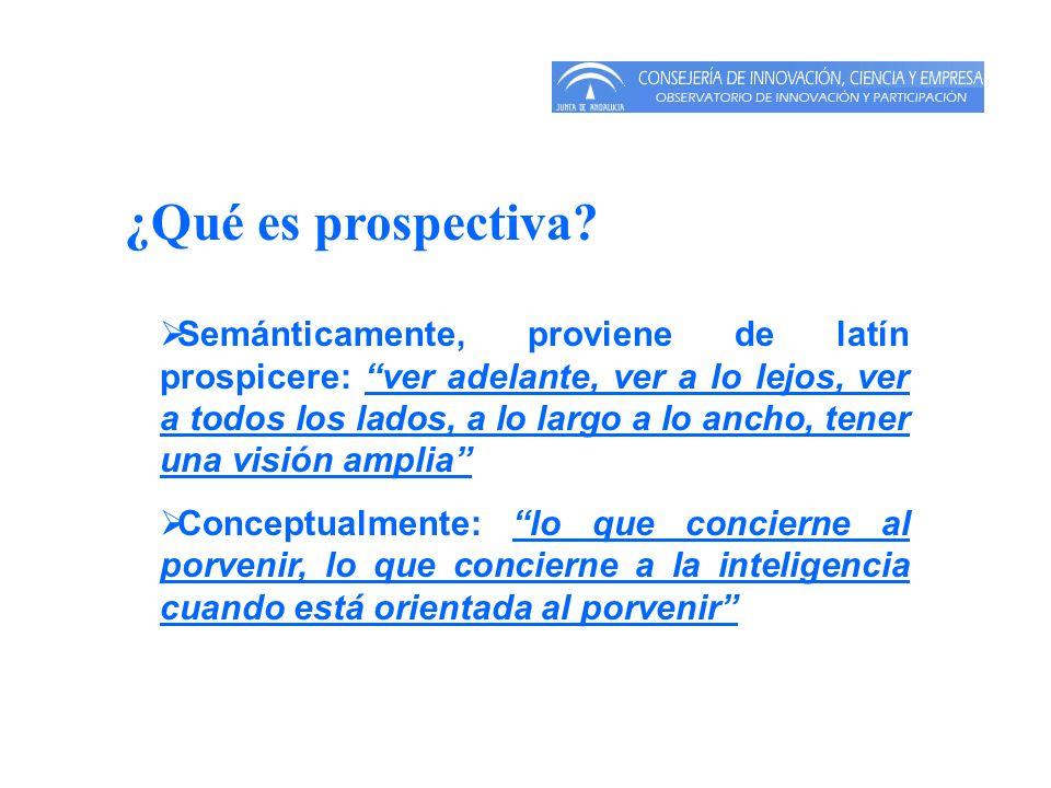 ¿Qué es prospectiva? Semánticamente, proviene de latín prospicere: ver adelante, ver a lo lejos, ver a todos los lados, a lo largo a lo ancho, tener u