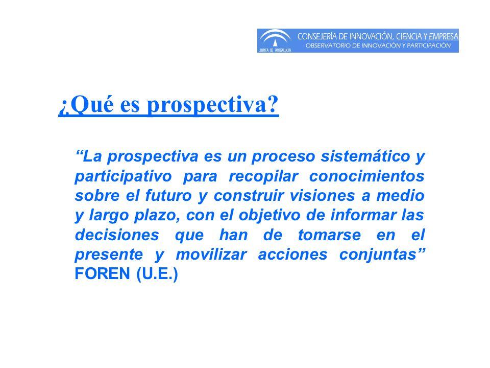Enfoque de la prospectiva Se puede establecer cuatro enfoque diferentes; Social: el foco del estudio está dirigido al desarrollo humano y social.